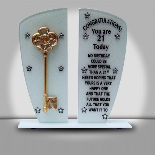 21st Double Glass Plaque (White Glitter)