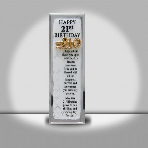 21st Long Glass Plaque (6x18cm)