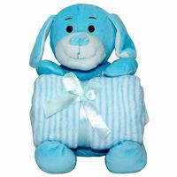 Teddy with Baby Blanket  blue