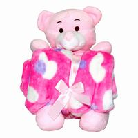 Teddy with Baby Blanket  pink